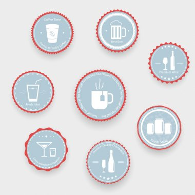 Drinks icons on blue balls stock vector