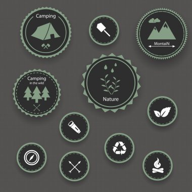 Set of camping icons. stock vector