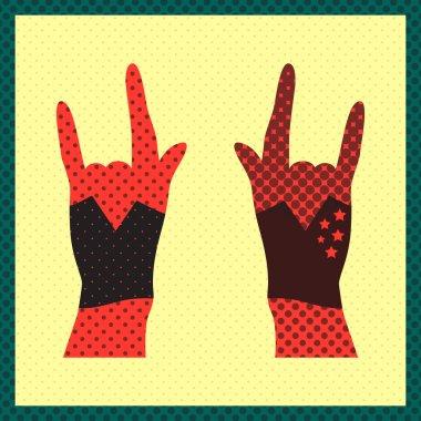 Hands up showing rock sign grunge illustration stock vector