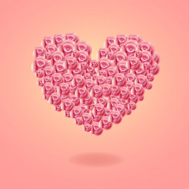 Romantic heart with roses stock vector
