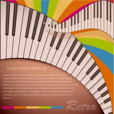 Musical background with piano keyboard stock vector