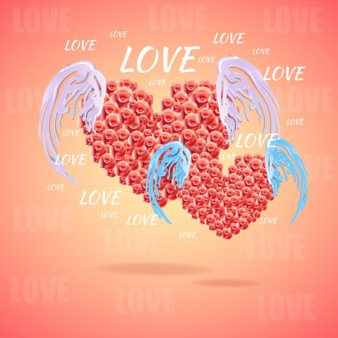 Pink heart with angel wings stock vector