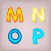 Barevné vektorové písmo. m, n, o, p