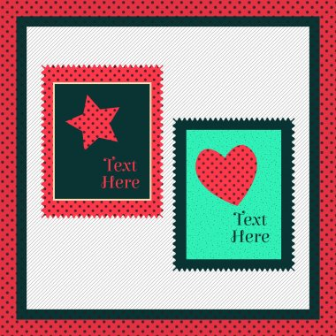 Greeting card with heart and star stock vector