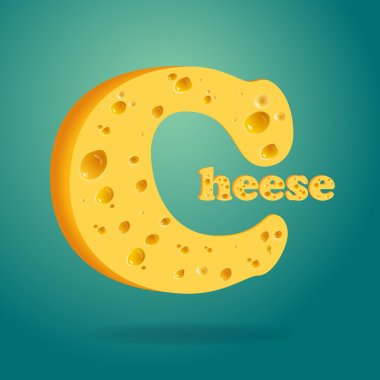 Illustration of Word Cheese written with cheese on isolated background stock vector