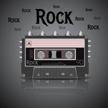 Rock vintage cassette vector illustration stock vector