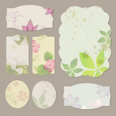 Collection of floral retro grunge labels, banners and emblems stock vector