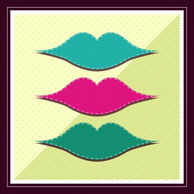 Retro illustration of lips stock vector