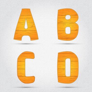 Wooden vector font. A, B, C, D stock vector