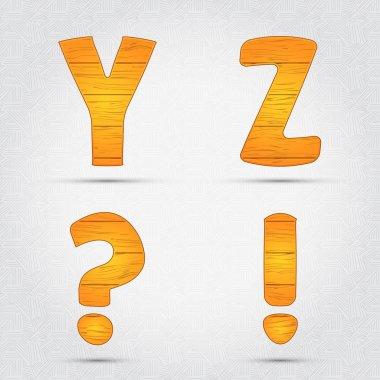 Wooden vector font. Y, Z stock vector