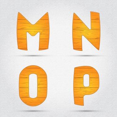 Wooden vector font. M, N, O, P stock vector