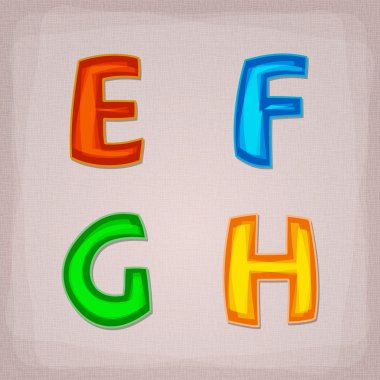 Vector colorful font. E, F, G, H stock vector