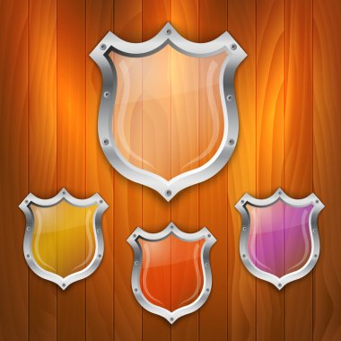 Vector set of glass shields. stock vector