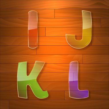 Colorful glass vector font. I, J, K, L stock vector
