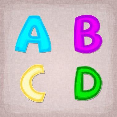 Vector colorful font. A, B, C, D stock vector