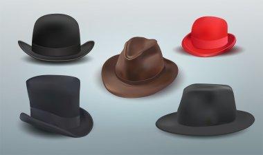 Vector set of hats. stock vector
