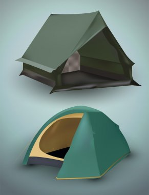Vector illustration of tourist tents. stock vector