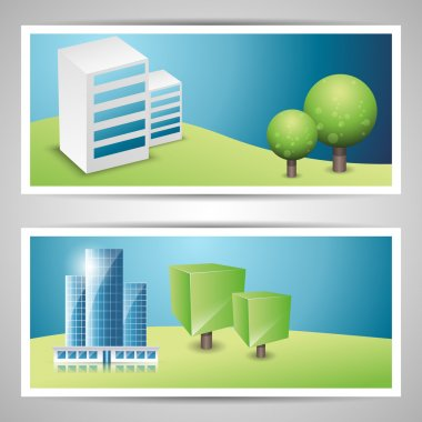 Banners on city theme. stock vector