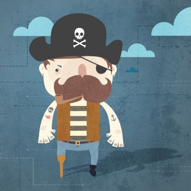 Vector grunge background with pirate. stock vector