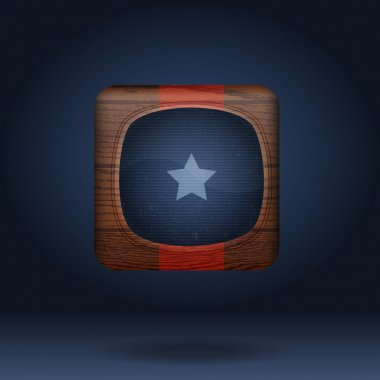 Vector wooden icon with star. stock vector
