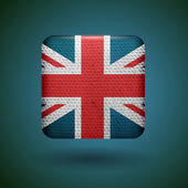 United Kingdom flag with fabric texture. Vector icon.
