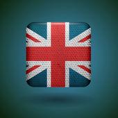 Velká Británie vlajka s texturou tkaniny. vektorové ikony.