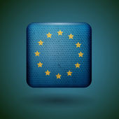 European union flag with fabric texture. Vector icon.