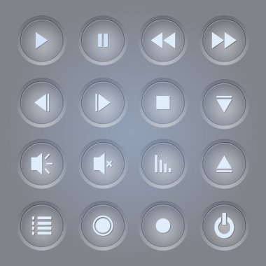 Vector set of media player icons. stock vector