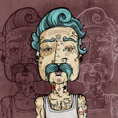 Portrait of a man with mustache and tattoos. Vector illustration.