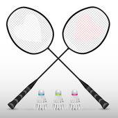 Silhouetten von Badmintonschlägern im Vektor