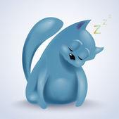 ilustrace spící roztomilé kočky.