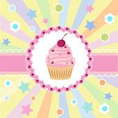 Roztomilé přání k narozeninám s dortíkem. vektorová ilustrace