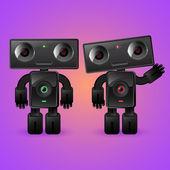 két robot. egy férfi és egy nő.