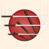Samurai Schwert Vektor Vektor Illustration