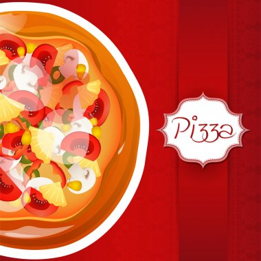 Background with pizza with place for text stock vector
