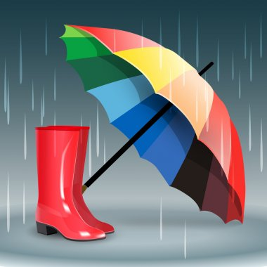 Rubber boots and umbrella stock vector