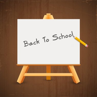 Text back to school on a blackboard stock vector