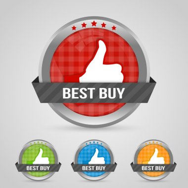 Vector illustratin of Best buy sticky labels. stock vector