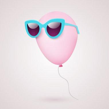 Balloon in sunglasses  vector illustration