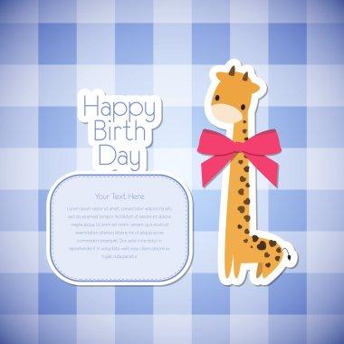 Vector greeting card giraffe. stock vector