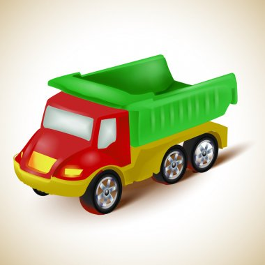 Colorful dump truck toy. Vector illustration. stock vector
