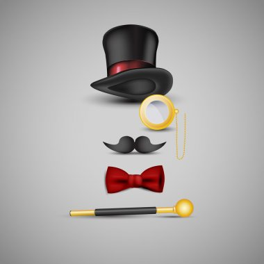 Magician kit: top hat, mustaches, monocle, bow tie and wand stock vector