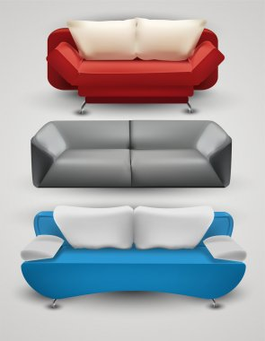 Vector set of colorful sofas stock vector