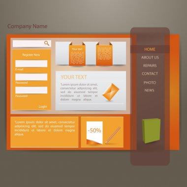 Orange website creative template stock vector
