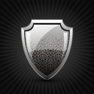 Button shield vector  illustration stock vector