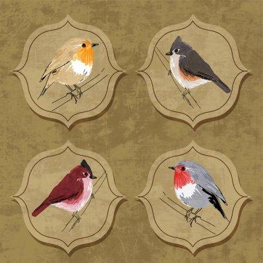 Vector illustration of little birds