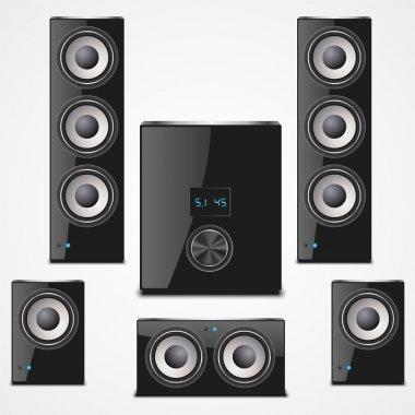 Speaker set isolated vector  illustration stock vector
