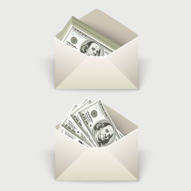 Money in an envelope stock vector