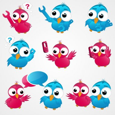 Vector funny birds icon set stock vector