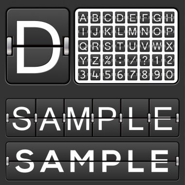 Set of letters on a mechanical timetable. Vector. stock vector